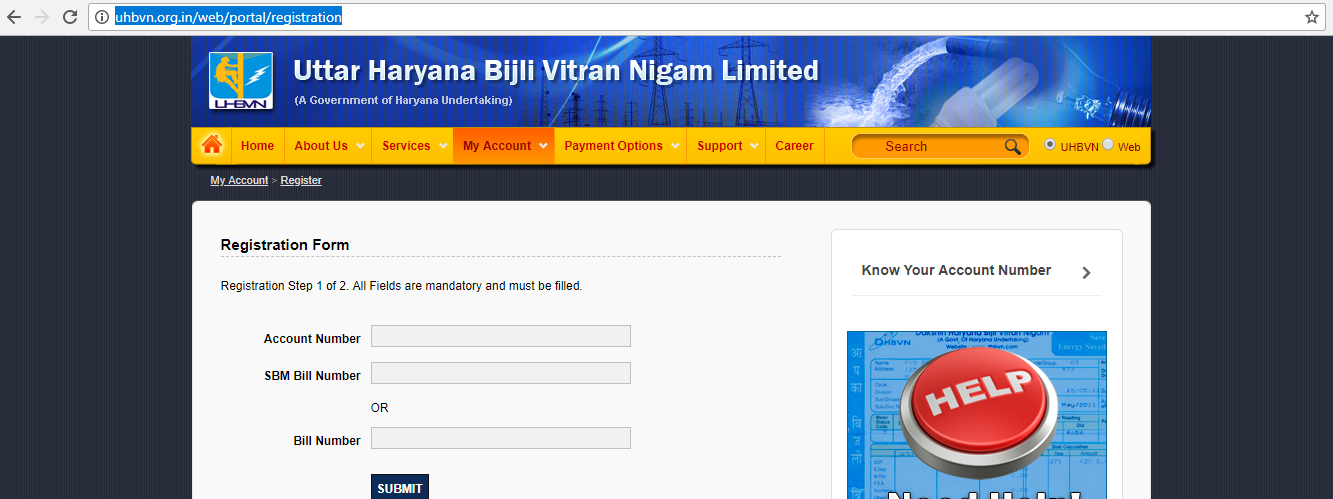 Register your account to UHBVN