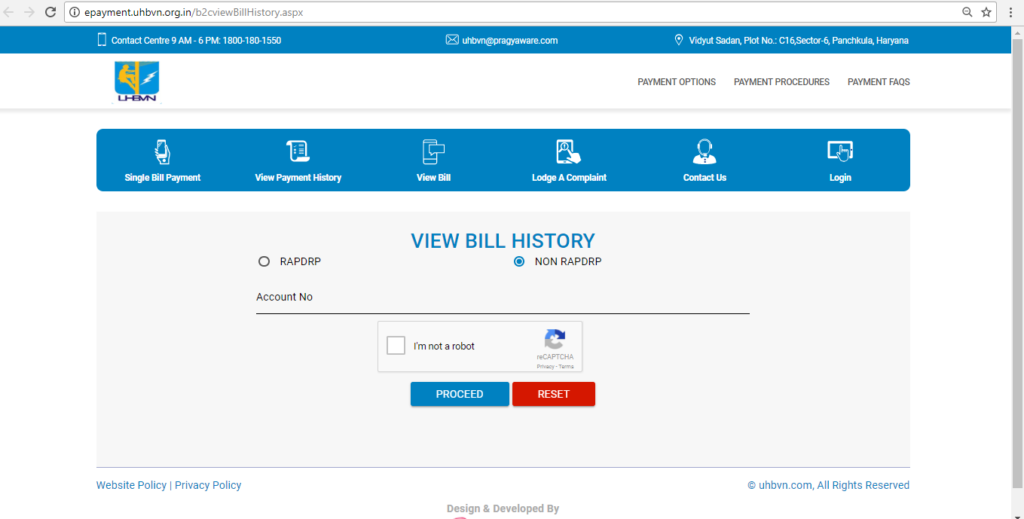 View Bill History and transactionsView Bill History and transactions